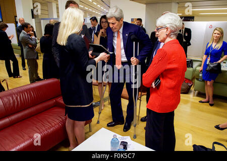 Secretary Kerry Watches President Obama Speak About the Iran Nuclear Agreement Backstage in Vienna Secretary Kerry - Stock Photo