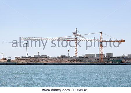 Venice lagoon dam building - Stock Photo