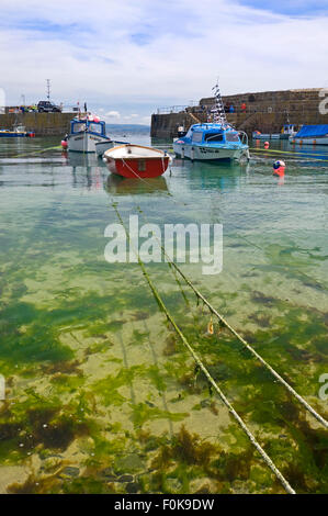 Vertical view of high tide in Mousehole, Cornwall - Stock Photo
