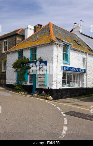 Vertical street view of Mousehole in Cornwall. - Stock Photo