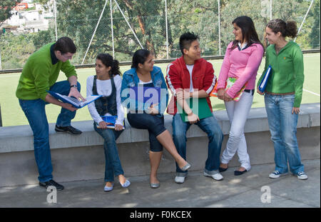 Senior school ethnic group outdoors Group of six senior teenagers 15-17 years meeting up and talking in sunny school - Stock Photo