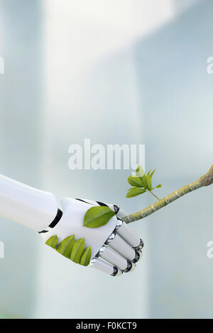 Robot hand and twig shaking hands, 3D Rendering - Stock Photo