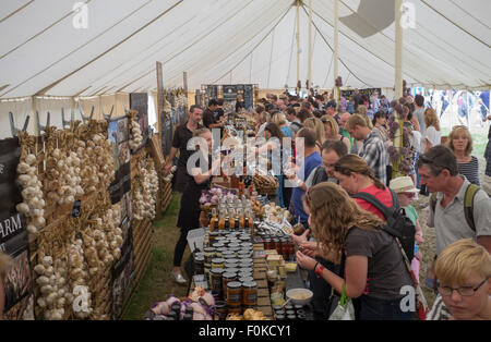 Garlic Stalls at the Isle of Wight Garlic Festival - Stock Photo