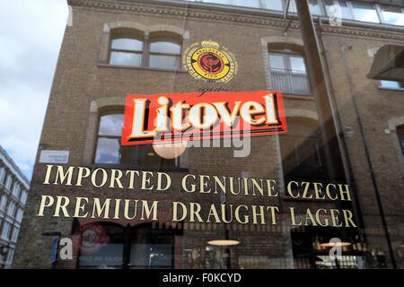 Litovel Czech Lager sign in a pub window in Shoreditch London UK  KATHY DEWITT - Stock Photo