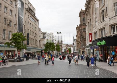 church street pedestrian shopping area Liverpool city centre England UK - Stock Photo