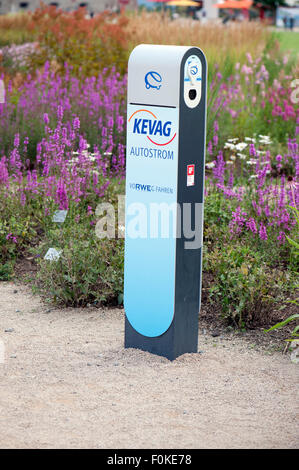 Electric car charging point in Koblenz, Germany, Europe - Stock Photo