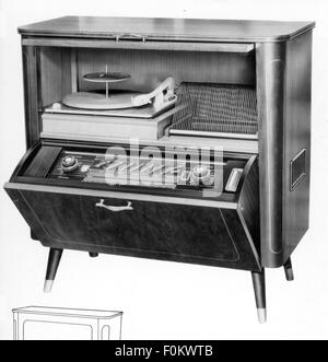 technics, consumer electronics, radiogram W656, Tonfunk GmbH, Karlsruhe, 1956, W 656, W-656, electric appliance, - Stock Photo