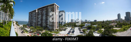 Panoramic skyline of downtown Miami, Florida. - Stock Photo
