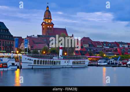 Harbor with Saint Mary Church, Waren an der Müritz, Mecklenburg Western Pomerania, Germany - Stock Photo