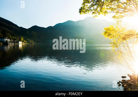 Sunset on Lake Kochel, Bavaria, Germany - Stock Photo
