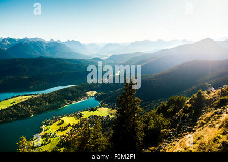 Walchensee and the Karwendel Mountains, Bavaria, Germany - Stock Photo