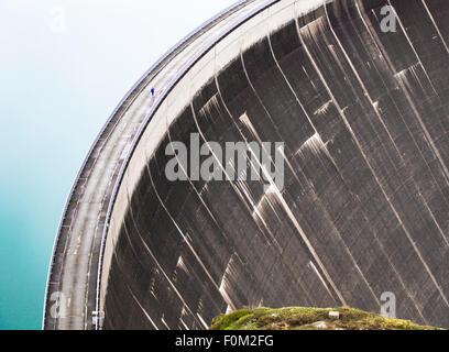 Mooserboden reservoir with Mooser dam, Kaprun, Austria - Stock Photo