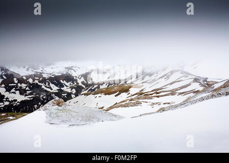 View to the snowy Hohe Tauern and the Grossglockner High Alpine Road, Austria - Stock Photo