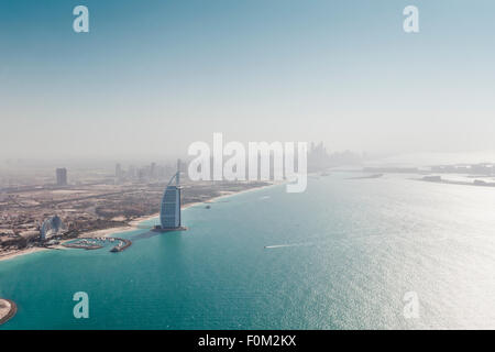 Coast with Burj Al Arab, Dubai Marina and Palm Island, Dubai, UAE - Stock Photo