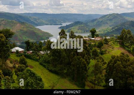 Overlooking Lake Bunyonyi, Uganda, Africa - Stock Photo