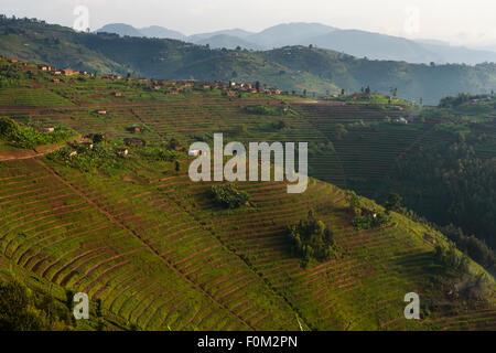 Mountains of western Rwanda, Africa - Stock Photo