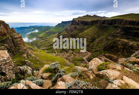 View from Sani Pass to Drakensberg range, Africa - Stock Photo