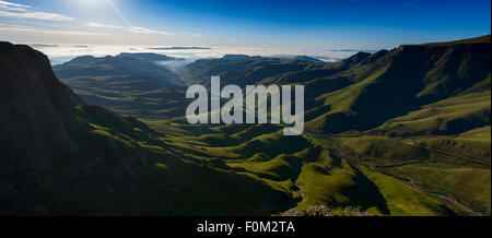 View from Sani Pass to Drakensberg range, Africa - Stock Photo