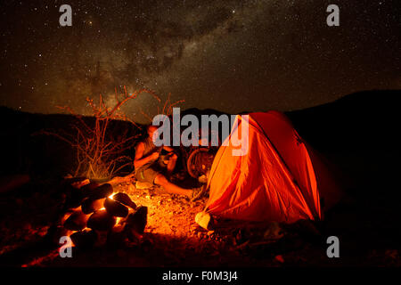 Camping in the wild, Namibia, Africa - Stock Photo