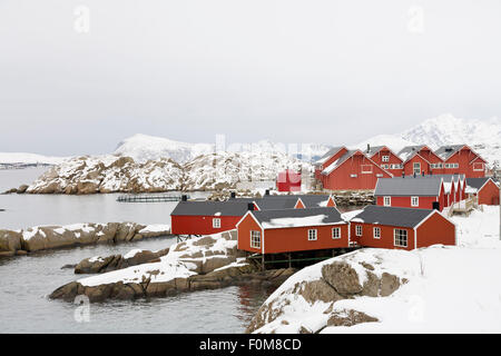 Fishing village at Lofoten Norway - Stock Photo
