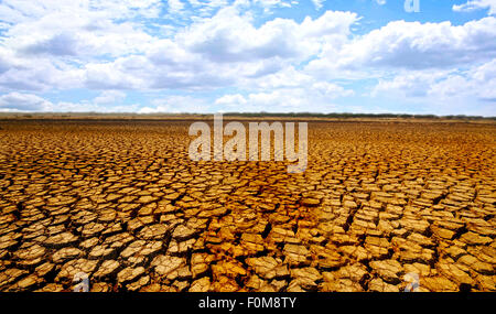 Barren desert land in national park Sarigua in Panama - Stock Photo