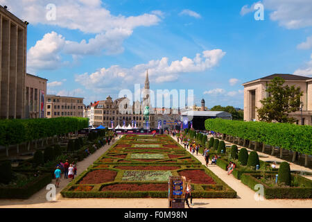 Gardens of the Royal Library in Brussels - Stock Photo
