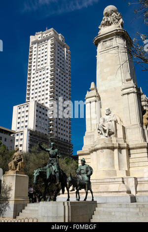Bronze statues of  Don Quixote and Sancho Panza, on the Cervantes monument in the Plaza de Espana, Madrid, Spain. - Stock Photo