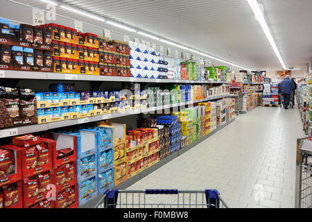 Inside a Aldi supermarket - Stock Photo
