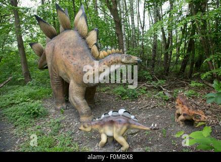 Stegosaurus large extinct Jurassic herbivore Dinosaurier Park Germany - Stock Photo