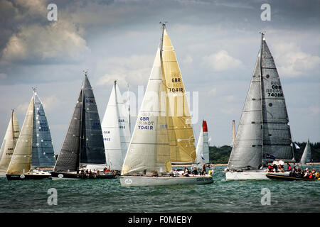Pictured at the start of the Fastnet race 2015 at Cowes are various monohulls close hauled - Stock Photo