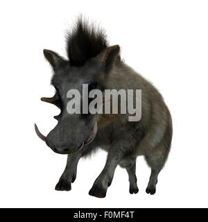 3D digital render of a wild warthog jumping isolated on white background - Stock Photo