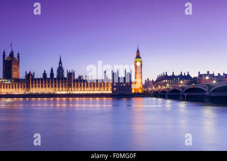 London, Houses of Parliament (Palace of Westminster), Thames and Westminster Bridge - Stock Photo