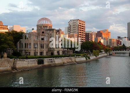 Atomic Bomb Dome on the Motoyasu-gawa River, Hiroshima, Western Honshu, Japan, Asia - Stock Photo