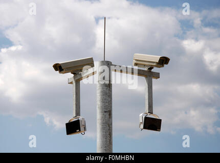 MAY 2008 - BERLIN: surveillance cameras at the construction site for the headquarters of the German secret service - Stock Photo