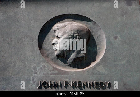 MAY 2008 - BERLIN: a relief showing John F. Kennedy, as a memory for his speech to the Berliner in 1962, Rathaus - Stock Photo