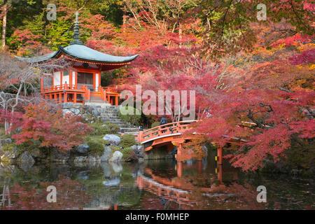 Japanese temple garden in autumn, Daigoji Temple, Kyoto, Japan, Asia Stock Photo