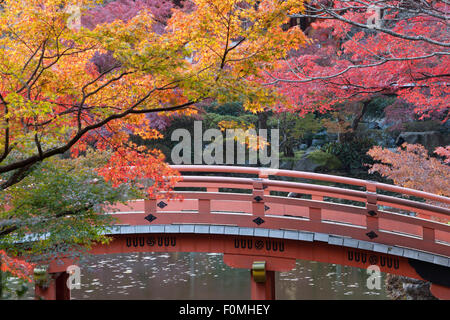 Japanese bridge and temple garden in autumn, Daigoji Temple, Kyoto, Japan, Asia Stock Photo