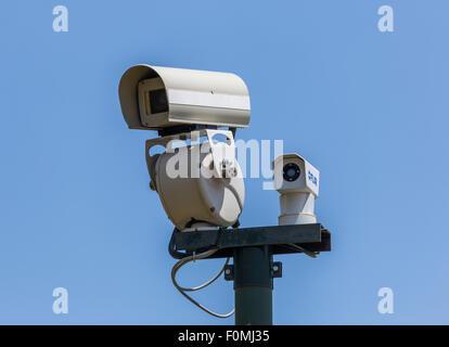 closed circuit security tv camera, Royal Site of San Lorenzo de El Escorial, Spain - Stock Photo
