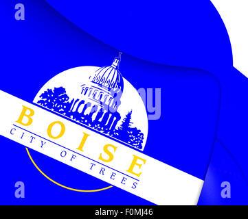 Flag of Boise, USA. Close Up. - Stock Photo