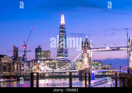 Tower Bridge, Thames River and the Shard building in London, England, UK - Stock Photo
