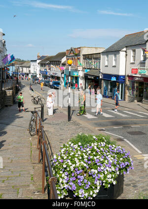 Market Jew Street in Penzance, Cornwall England. - Stock Photo