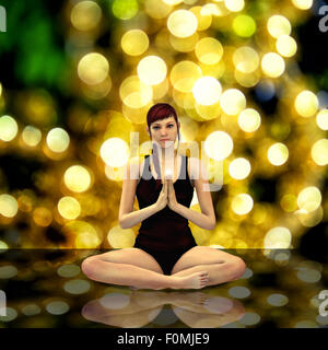 3d render of a female doing yoga - Stock Photo