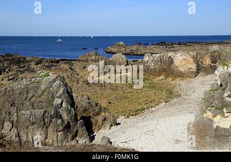View of Baie du Scall from Boulevard des Korrigans, Le Pouliguen, Loire Atlantique, France, Europe - Stock Photo