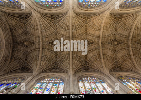 King's college chapel, Gothic fan vaulting - Stock Photo