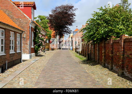 Groennegade i Ringkoebing, Denmark. Old street with paving stones,  old houses and  rambler rose. - Stock Photo