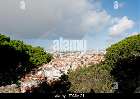 Cityscape in Lisbon, Portugal. On a clear sunny day. - Stock Photo