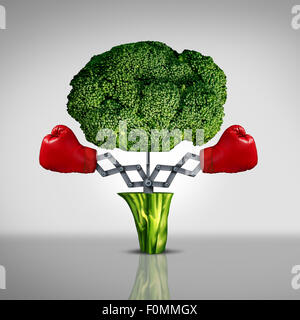 Superfood protection health care concept and cancer disease fighting food symbol as a healthy natural nutrition - Stock Photo