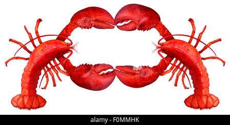 Lobster blank sign with claws creating a frame with copy space as a fresh fish or seafood message and shellfish - Stock Photo