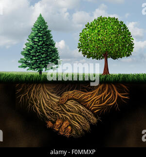Global agreement shaking hands as two different trees from diverse regions showing underground roots coming together - Stock Photo