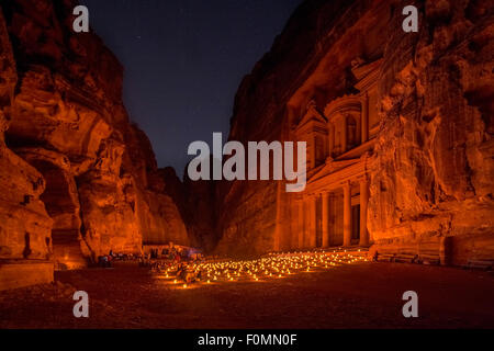 al-Khaznah or the Treasury at night time candlelight visit, Petra, Jordan. - Stock Photo